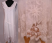 Vintage White Net Princess Tape Lace Applique Embroidered Drop Waist Dress & Slip