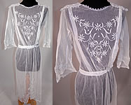 Vintage Edwardian Sheer White Net Floral Embroidered Lace Sailor Middy Dress