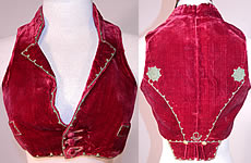 Vintage Regional Folk Costume Spanish Soutache Embroidery Red Velvet Spencer Waistcoat Vest