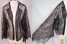 Victorian Civil War Antique Black Chantilly Lace Shawl Jacket Pagoda Sleeve