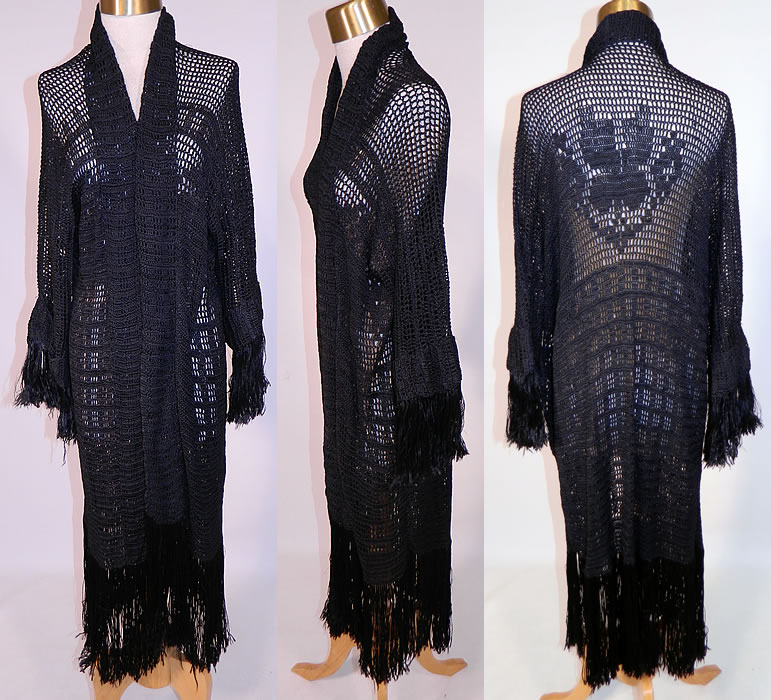 Vintage Black Silk Knit Crochet Lace Fringe Shawl Long