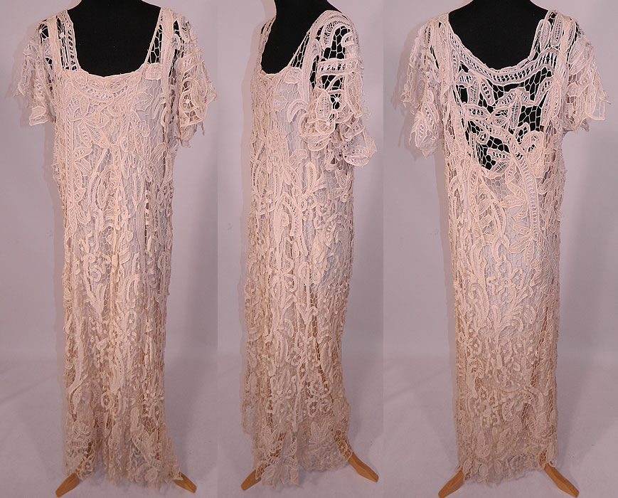 Vintage Cream Battenburg Needle Lace Wedding Gown Dress
