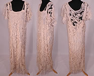 Vintage 1920s Cream Battenburg Needle Lace Wedding Gown Dress & Silk Slip