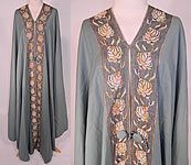 Vintage Liberty & Co. London Paris Label Teal Blue Wool Embroidered Cloak Cape