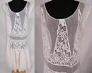 1920s Vintage White Embroidered Pleated Tulle Net Lace Chemise Drop Waist Dress