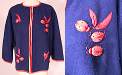 Vintage Dolly Hong Kong Label Blue & Red Embroidered Beaded Ladybug Sweater