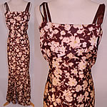 Vintage 1930s Ikat Dye Brown Floral Print Silk Moire Taffeta Bias Cut Dress Gown