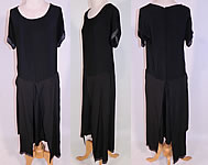 Vintage Art Deco Black Silk Crepe de Chine Tiered Panel Skirt Beaded Flapper Dress