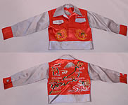 1940s Vintage WWII Japan Souvenir Tour Jacket Child's Shirt Satin Embroidered Map
