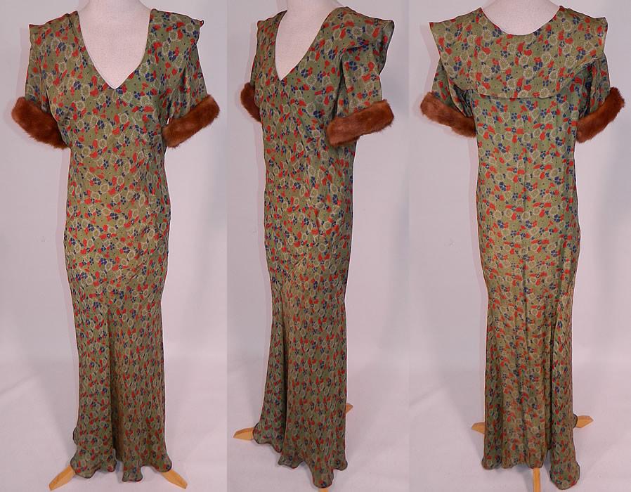 Vintage Green Gold Lamé Lame Floral Print Bias Cut Gown Shawl Collar ...