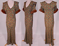 Vintage Green Gold Lamé Lame Floral Print Bias Cut Gown Shawl Collar Fur Trim Cuffs