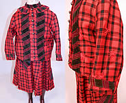 Victorian Childs Black & Red Tartan Plaid Wool Embroidered Patchwork 2 Piece Dress