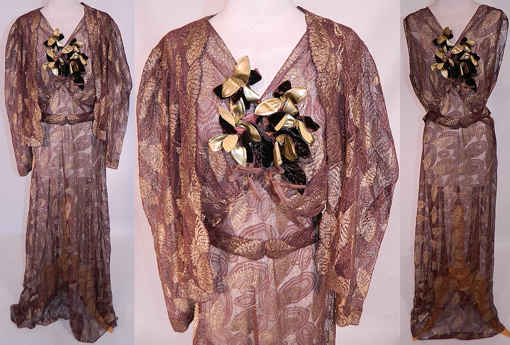 Vintage Gold Lame Brown Lace Flower Bias Cut Dress Jacket Evening Gown Lamé