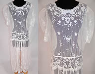 1920s Vintage White Tambour Embroidery Lace Sheer Silk Tulle Net Drop Waist Dress