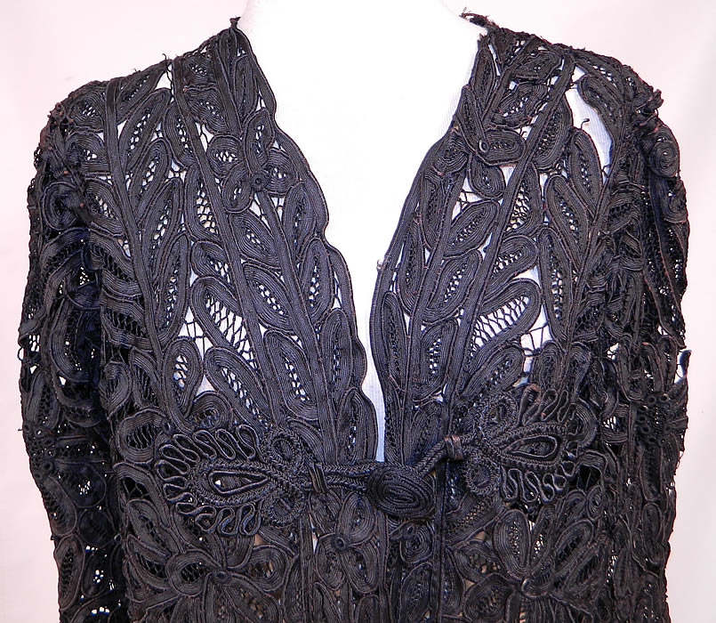 side Edwardian La Samaritaine Brussels Black Silk Battenburg Tape Lace Long Coat Jacket