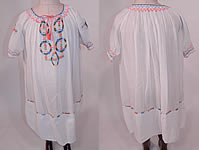 Vintage Childs White Cotton Colorful Embroidered Smocking Hungarian Peasant Dress