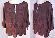 1920s Vintage Art Deco Brown Silk Silver Beaded Flapper Blouse Shirt Top