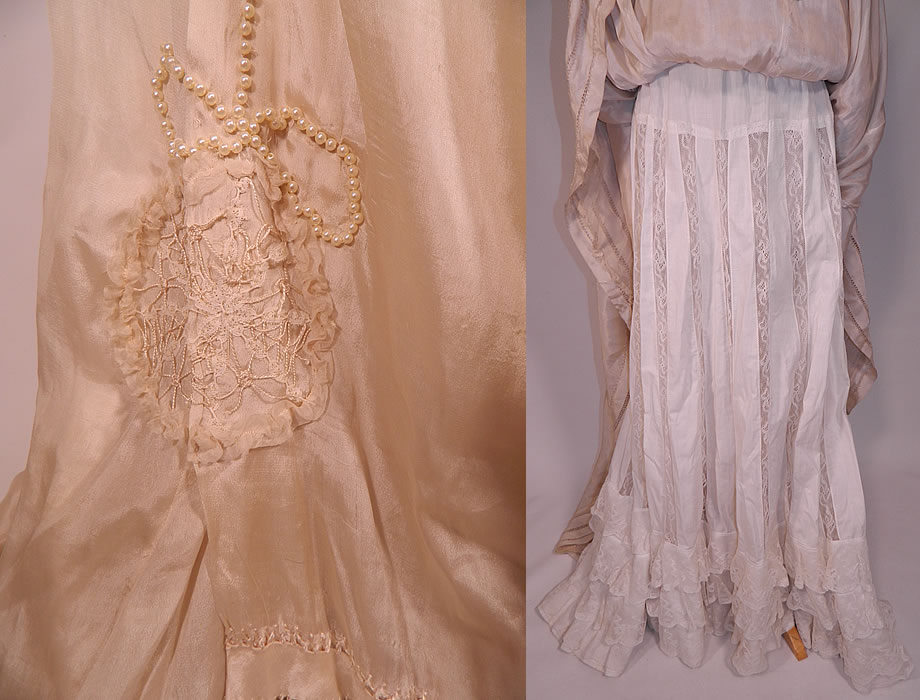 Edwardian cream silk ruched pearl beaded lace trim wedding for Wedding dress trim beading