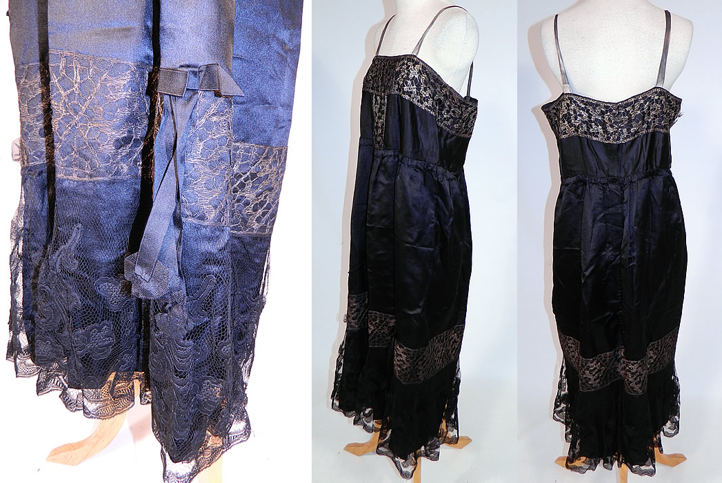 Vintage Art Deco Black Silk Gold Lame Lace Trim Flapper Slip Dress Lamé