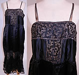 1920s Vintage Art Deco Black Silk Gold Lamé Lame Lace Trim Flapper Slip Dress