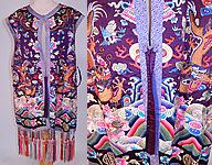 Antique Chinese Chaogua Longgua Silk Embroidered Sleeveless Vest Dragon Coat Robe
