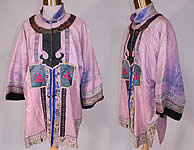 Antique Chinese Character Embroidered Purple Lilac Silk Damask Brocade Robe Coat