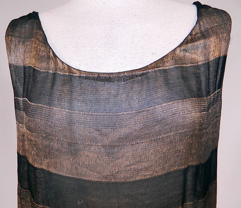 02002c2fe96 Vintage Art Deco Black & Gold Lame Silk Stripe Flapper Tunic Top Dress Lamé  The dress