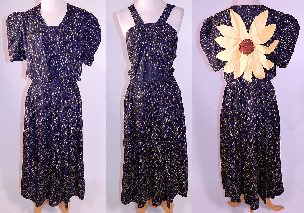 Vintage Navy Blue Yellow Sunflower Novelty Print Silk Sun Dress & Jacket