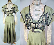 Edwardian Sage Green Fine Wool White Lace Dress 4 Piece Outfit Blouse Belt Skirt