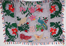 1920s Vintage Colorful Ribbonwork Woven Crochet Fringe Floral Peacock Bird Boho Shawl