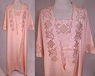 Edwardian Pink Cotton Drawn Cut Work Embroidered Peignoir Negligee Nightgown