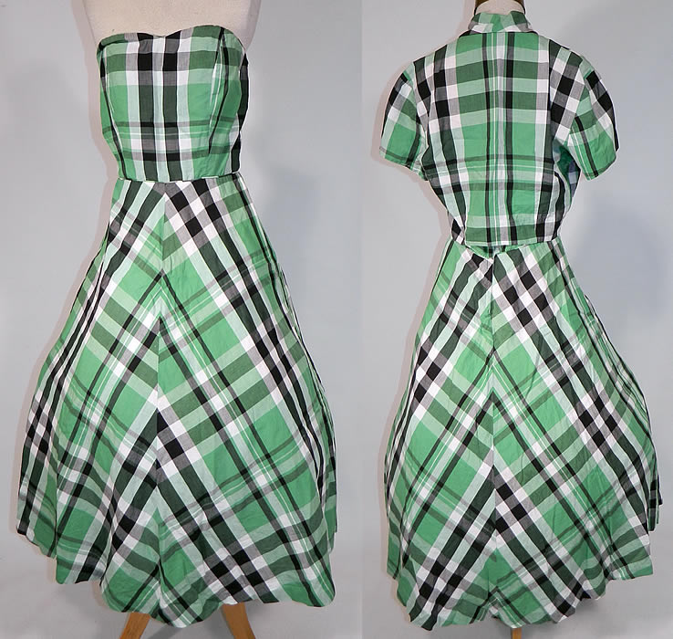 Vintage Betty Barclay Frocks Green Gingham Check Cotton Circle Skirt Dress & Jacket