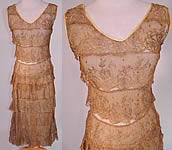 Vintage 1920s Gold Metallic Lamé Lame Lace Layered Tiered Ruffle Tango Flapper Dress