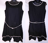 Vintage 1920s Flapper Black & White Cotton Belted Bathing Suit Swimsuit Dress & Bloomers