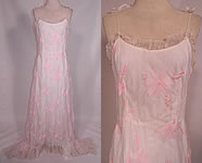 Vintage 1940s White Organdy Pink Embroidered Flower Formal Gown Skirt Train Dress