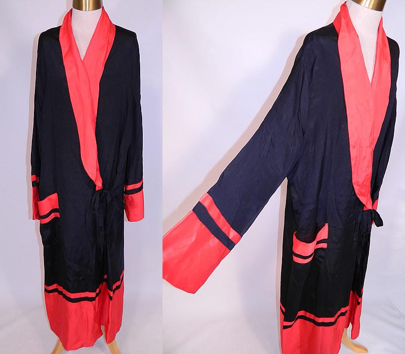 Vintage Art Deco Black   Red Silk Striped Flapper Kimono Robe Dressing Gown eb716181d