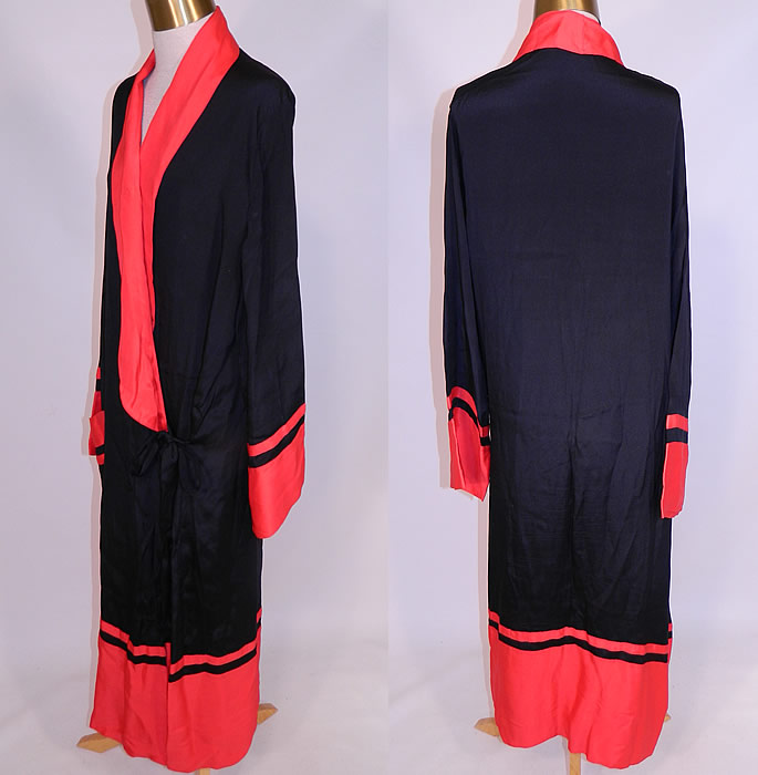 Vintage Art Deco Black   Red Silk Striped Flapper Kimono Robe Dressing Gown  The robe measures f67ab84f8