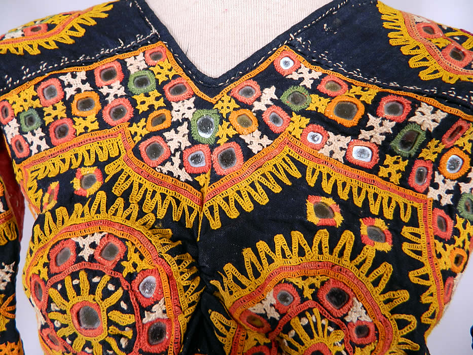 Vintage Antique Indian Gujarati Kutch Work Embroidered Mirror Choli