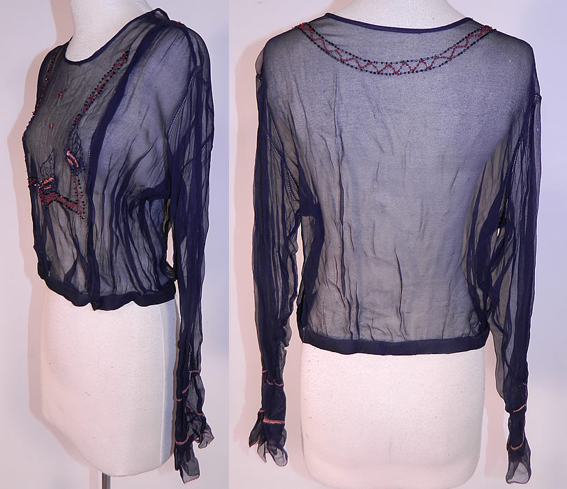 Vintage Navy Blue Sheer Silk Chiffon Embroidered Beaded Butterfly Blouse Shirt
