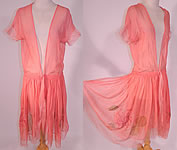 1920s Vintage Hand Painted Lotus Flower Petal Skirt Coral Pink Silk Chiffon Dress Robe