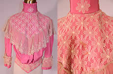 Victorian French Rose Pink Silk Wool White Lace Ruffle Trim Bodice Shirt