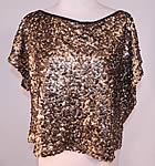 Vintage 1930s Art Deco Sheer Net Gold Metallic Sequin Beaded Blouse Shirt Top