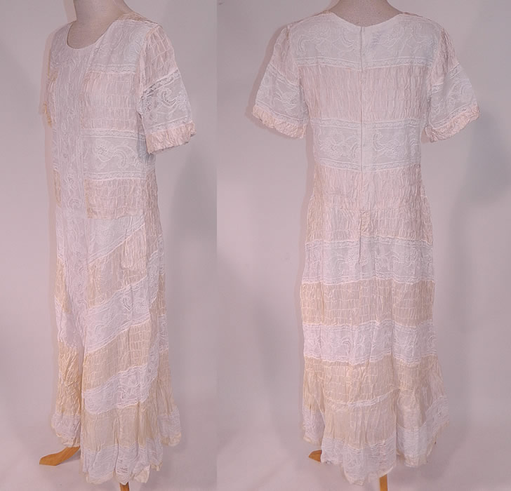 Vintage White Lace Cream Silk Smocking Ruched Gathering Summer Maxi Dress