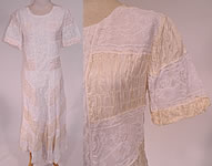 1940s Vintage White Lace Cream Silk Smocking Ruched Gathering Summer Maxi Dress
