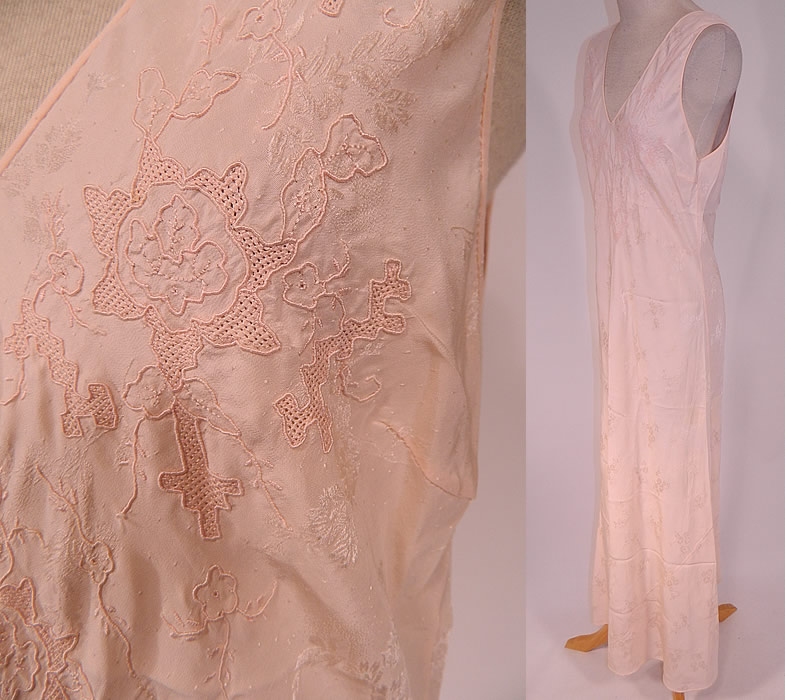 Vintage Pink Damask Silk Embroidered Drawn Cut Work Bias Cut Negligee Nightgown