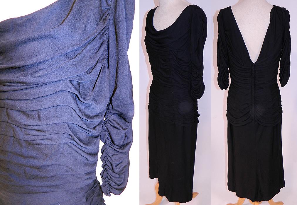 Vintage Black Silk Jersey Pleated Gathering Sexy Sheath Cocktail Dress