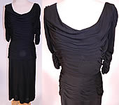 1960s Vintage Black Silk Jersey Pleated Gathering Sexy Sheath Cocktail Dress