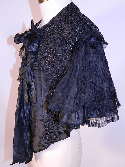 Victorian Black Silk Jet Beaded Mourning Mantle Dolman Cloak Cape Capelet