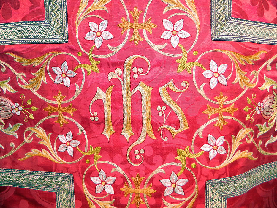 Antique Religious Red Silk Brocade Embroidered Priests Vestment Chasuble Poncho