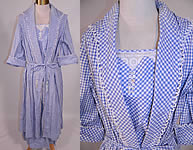 Edwardian Vintage Blue & White Gingham Check Cotton Pinafore Belted Day Dress